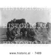 Historical Photo of Edward S. Curtis and Four Apsaroke Indians 1908 - Black and White by Al