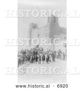 December 13th, 2013: Historical Photo of Feast Day at San Estevan Del Rey Mission, Acoma Indians 1890 - Black and White by Al