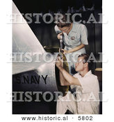 Historical Photo of Female Riveter, Virginia Davis, Assembling an Airplane with a Man by Al