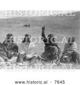 Historical Photo of Four Atsina Men 1908 - Black and White by Al