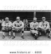 Historical Photo of Four Baseball Players, Babe Ruth, Ernie Shore, Rube Foster, and Del Gainer of the Boston Red Sox, Sitting Together - Black and White Version by Al