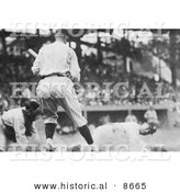 Historical Photo of Goose Goslin Sliding for Home Plate During a Baseball Game in 1925 - Black and White Version by Al