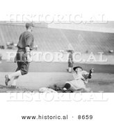 Historical Photo of Goose Goslin Sliding to Third Base During a Baseball Game, 1925 - Black and White Version by Al