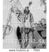 December 13th, 2013: Historical Photo of Grey Eagle with Tipi 1900 - Black and White by Al