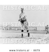 Historical Photo of Hal Chase Throwing a Baseball, 1911 - Black and White Version by Al