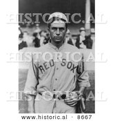 Historical Photo of Harry Bartholomew Hooper of the Boston Red Sox Baseball Team in Uniform, 1914 - Black and White Version by Al
