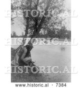 December 13th, 2013: Historical Photo of Hidatsa Indian Fetching Water from a Stream 1908 - Black and White by Al