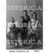 Historical Photo of Hidatsa Indian Man Called Good Bear with His Family 1908 - Black and White by Al