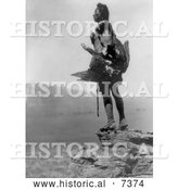 December 13th, 2013: Historical Photo of Hidatsa Indian Man Holding a Dead Eagle 1908 - Black and White by Al