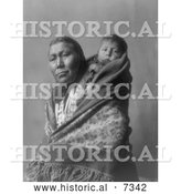 Historical Photo of Hidatsa Indian Mother with a Baby on Her Back 1908 - Black and White by Al
