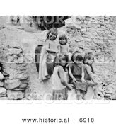 Historical Photo of Hopi Indian Children - Black and White Version by Al