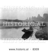 Historical Photo of Hupa Indian Fishing 1923 - Black and White Version by Al