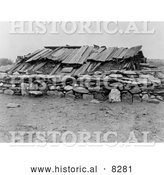 Historical Photo of Hupa Sweat House 1923 - Black and White Version by Al