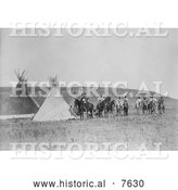 Historical Photo of Indian War Party near Tipis 1908 - Black and White by Al