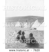 Historical Photo of Indians and Tipis at Camp Gossips 1908 - Black and White by Al