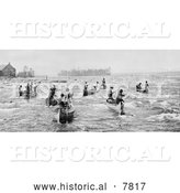 "Historical Photo of Indians Fishing at the ""Soo"" 1901 - Black and White by Al"