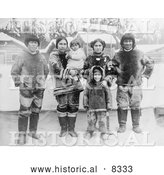 Historical Photo of Inuit Eskimo Family 1909 - Black and White by Al