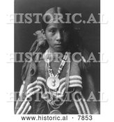 Historical Photo of Jicarilla Apache Girl 1905 - Black and White by Al