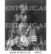 Historical Photo of Jicarilla Apache Indian Girl - Black and White Version by Al