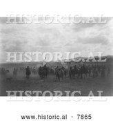 Historical Photo of Jicarilla Apaches on Horses 1905 - Black and White by Al