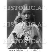 Historical Photo of Jicarilla Girl - Native American Indian - Black and White Version by Al