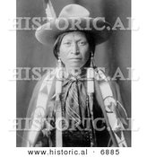 Historical Photo of Jicarilla Man in Cowboy Attire - Native American Indian - Black and White Version by Al