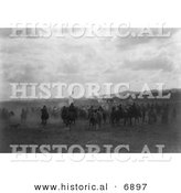 Historical Photo of Jicarilla Native American Indian Fiesta - Black and White Version by Al