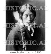 Historical Photo of Jicarilla Native American Indian Man - Black and White Version by Al