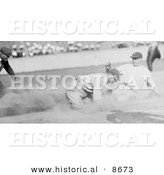 Historical Photo of Joe Harris Sliding and Stealing Third Base During a Baseball Game - Black and White Version by Al
