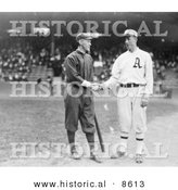 Historical Photo of Johnny Evers Shaking Hands with Eddie Plank 1914 - Black and White Version by Al