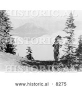 Historical Photo of Klamath Indian Chief at Crater Lake 1914 - Black and White Version by Al