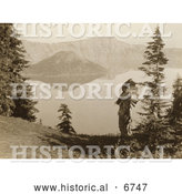 Historical Photo of Klamath Indian Chief at Crater Lake 1914 - Sepia by Al