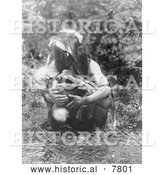 Historical Photo of Kwakiutl Man Holding Mummy 1911 - Black and White by Al