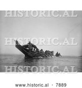 Historical Photo of Kwakiutl Wedding Canoes 1914 - Black and White by Al