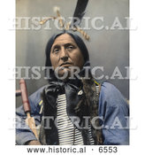 Historical Photo of Left Hand Bear, a Native American Oglala Indian Chief, Posing with a Breast Plate by Al