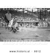 Historical Photo of Lou Gehrig Sliding for Home Plate While Catcher Hank Severeid Waits for the Ball - Black and White Version by Al
