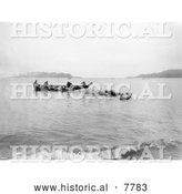 Historical Photo of Makah Indian Whalers 1910 - Black and White by Al