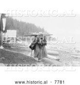 Historical Photo of Makah Woman Carrying Faggots 1910 - Black and White by Al
