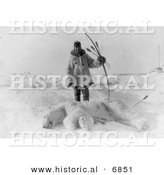 Historical Photo of Male Eskimo Hunter Carrying Bow and Arrows, Standing over a Dead Polar Bear - Native American Indian - Black and White Version by Al