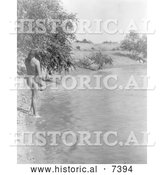 December 13th, 2013: Historical Photo of Mandan Indian About to Bathe in a Stream 1908 - Black and White by Al