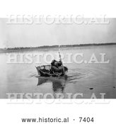 Historical Photo of Mandan Indian Rowing a Bull Boat 1908 - Black and White by Al