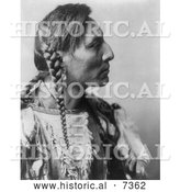 December 13th, 2013: Historical Photo of Mandan Native American Man with Braids, Spotted Bull 1908 - Black and White by Al