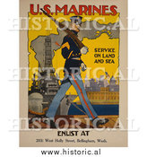 Historical Photo of Marine Soldier - Vintage Military War Poster 1917 by Al