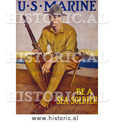 Historical Photo of Marine Soldier with a Rifle - Vintage Military War Poster 1917 by Al