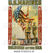 Historical Photo of Marines Raising the American Flag - Vintage Military War Poster 1913 by Al
