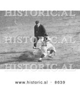 Historical Photo of Max Carey Stealing Second Base During the 1925 World Series Baseball Game - Black and White Version by Al
