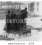 Historical Photo of Men Pulling Annie E. Taylor's Barrel out of Niagara Falls, 1901 - Black and White Version by Al
