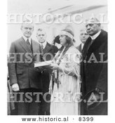 Historical Photo of Miss Ruth Muskrat Standing with President John Calvin Coolidge - Black and White Version by Al