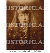 Historical Photo of Native American Indian - Acoma Woman Wearing Jewelry 1905 - Black and White Version by Al