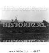 Historical Photo of Native American Indian Encampment with Tipis - Black and White Version by Al